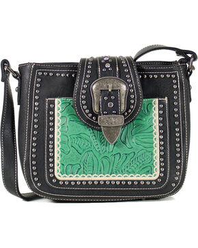 Montana West Women's Studded Buckle Concealed Carry Shoulder Bag, Black, hi-res