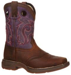Durango Youth Plum Saddle Western Boots - Square Toe, , hi-res