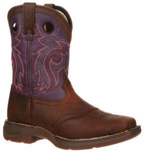Durango Youth Plum Saddle Western Boots - Square Toe, Brown, hi-res