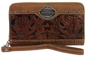 Montana West Trinity Ranch Brown Tooled Design Wallet, Brown, hi-res