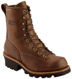 "Chippewa Waterproof 8"" Logger Boots - Plain Toe, , hi-res"
