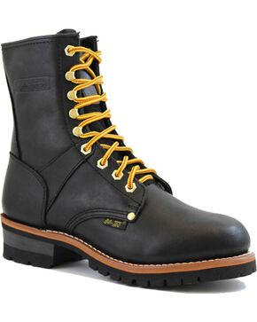 "Ad Tec Men's Black Logger 9"" Work Boots - Round Toe, Black, hi-res"