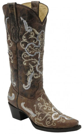 Corral Tobacco with Beige and Silver Sequence Cross Boots - Snip Toe, Tobacco, hi-res