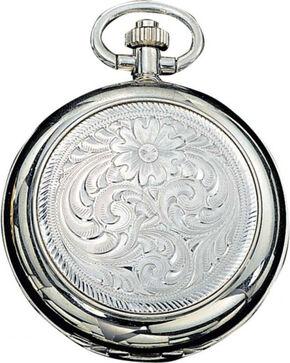 Montana Silversmiths Engraved Western Pocket Watch, No Color, hi-res