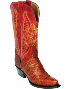 Ferrini Red Snake Print Cowgirl Boots - Pointed Toe, , hi-res