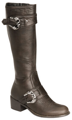 Roper Faux Leather Bling Buckle Harness Riding Boots - Round Toe, Brown, hi-res