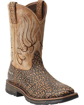 Ariat Men's Workhog Mesteno Savannah Work Boots - Square Toe, Tan, hi-res