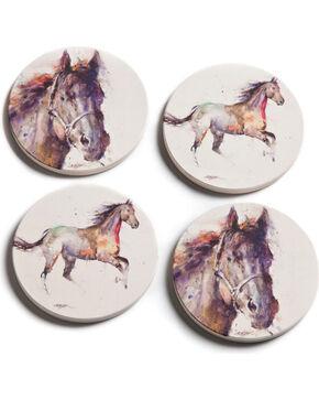 Big Sky Carvers Dean Crouser Horse Coaster Set of 4, Cream, hi-res
