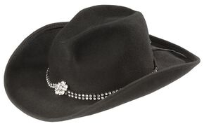 Bullhide Kids' Rhinestone Band Cowgirl Hat, Black, hi-res