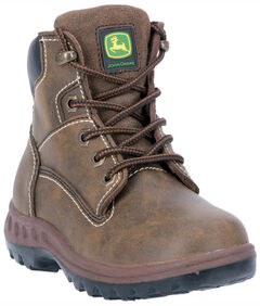 John Deere Youth Boys' Leather Lace-up Work Boots, , hi-res