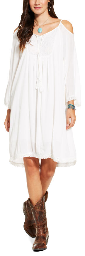 Ariat Women's White Open Shoulder Caliente Dress , White, hi-res