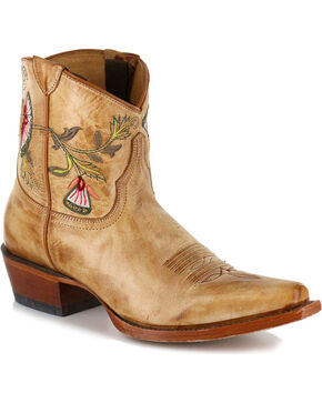 Shyanne Women's Floral Embroidered Western Booties - Snip Toe, Tan, hi-res