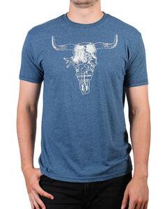 Cody James Men's Steer Skull Short Sleeve T-Shirt , Heather Blue, hi-res