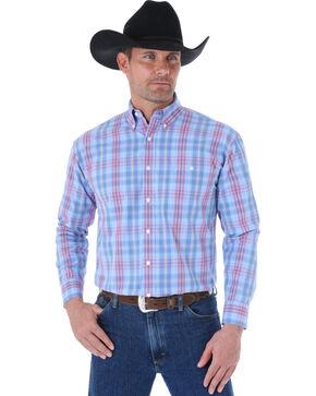Wrangler George Strait Blue & Red Plaid Western Shirt, Blue Plaid, hi-res