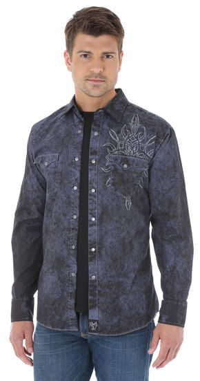 Wrangler Rock 47 Men's Washed Navy Shirt with Embroidery, Navy, hi-res