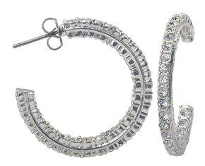 Montana Silversmiths Cubic Zirconia Encrusted Hoop Earrings, Silver, hi-res