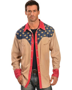 Scully Patriotic Pick Stitched Western Shirt, , hi-res