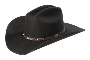 Justin Lone Star 2X Wool Cowboy Hat, Black, hi-res