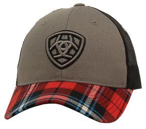 Ariat Velcro Black and Red Plaid Cap, Red, hi-res