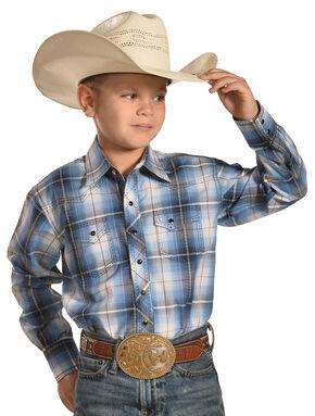 Crazy Cowboy Boys' Blue Plaid Dobby Western Snap Shirt , Blue, hi-res