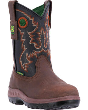 John Deere Boys' Popper Waterproof Cowboy Boots - Round Toe , Black, hi-res