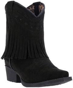 Laredo Girls' Zena Black Fringe Cowgirl Boots - Snip Toe, , hi-res
