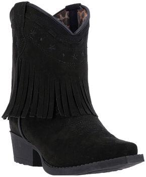 Laredo Girls' Zena Black Fringe Cowgirl Boots - Snip Toe, Black, hi-res