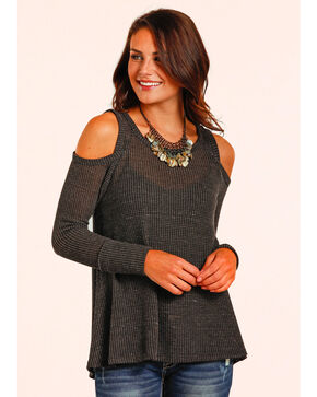 Panhandle Women's Waffle Knit Swing Top , Black, hi-res