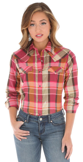 Wrangler Women's Long Sleeve Plaid 2 Pocket Shirt, Pink, hi-res