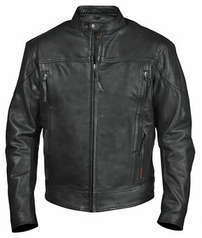 Interstate Leather Men's Beretta Leather Riding Jacket, Black, hi-res
