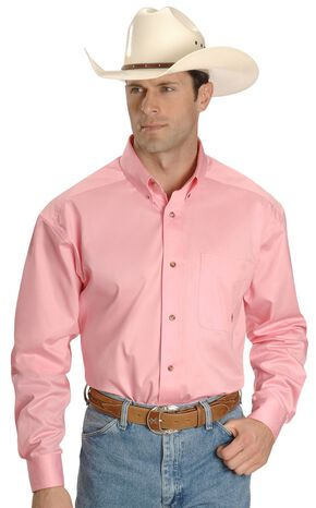 Ariat Pink Twill Cowboy Shirt, Pink, hi-res