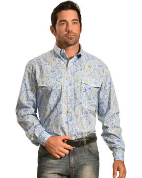 Roper Men's Amarillo Collection Blue Paisley Shirt, Blue, hi-res