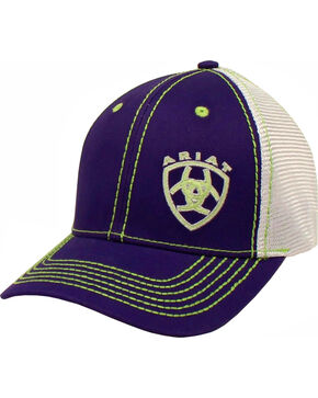 Ariat Women's Purple Contrast Shield Baseball Cap , Navy, hi-res