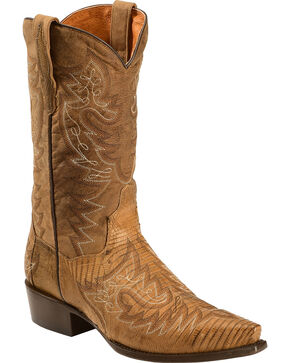 Dan Post Asheville Stitched Lizard Cowboy Boots - Snip Toe, Bay Apache, hi-res