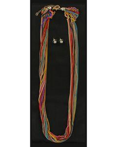 Blazin Roxx Colorful Multi Chain Necklace & Earrings Set, , hi-res