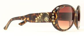 Blazin Roxx Rhinestone & Wing Concho Brown Sunglasses, Brown, hi-res