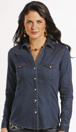 Rough Stock by Panhandle Slim Newbridge Vintage Indigo Western Shirt , Navy, hi-res