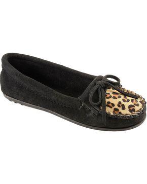 Women's Minnetonka Leopard Kiltie Moccasins, Black, hi-res