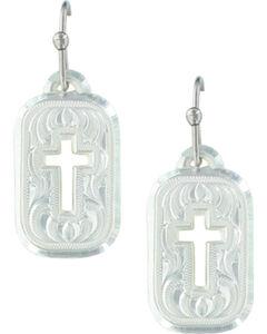 Montana Silversmiths Women's Mini Tokens Of Faith Cross Earrings , , hi-res