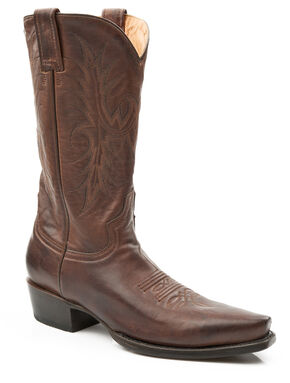 Stetson Hand Burnished Faccini Leather Cowgirl Boots - Snip Toe, Brown, hi-res