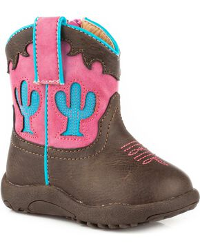 Roper Infant Girls' Cowbaby Cactus Pre-Walker Cowgirl Boots , Brown, hi-res