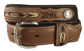 Kids' Inset & Concho Adorned Leather Belt - 18-28, Black, hi-res