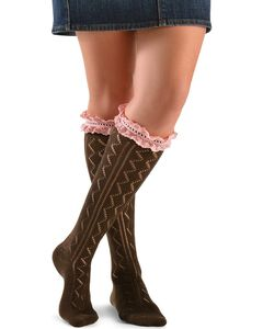 Blazin Roxx Brown with Pink Crocheted Lace Knee-High Socks, Brown, hi-res