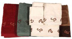 Three-Piece Embroidered Branding Symbols Bath Towel Set - Turquoise, Turquoise, hi-res