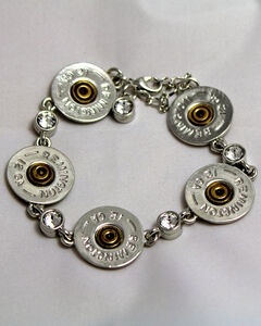 SouthLife Supply Women's Shotshell Link Bracelet in Traditional Silver with Crystals, , hi-res