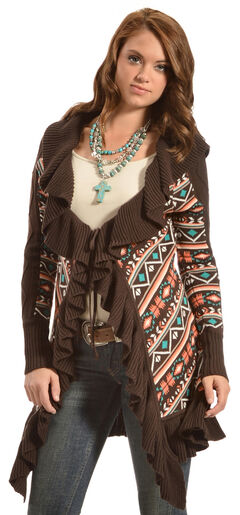 Powder River Outfitters Women's Ruffle Knit Cardigan, , hi-res