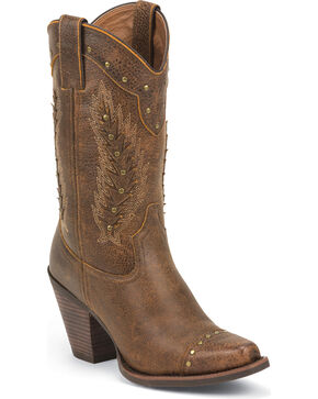 Justin Silver Women's Studded Cowgirl Boots - Snip Toe, Rust, hi-res