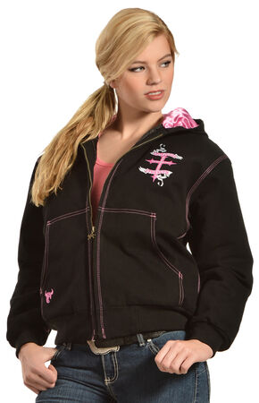 Cowgirl Hardware Women's Winged Cross Hooded Jacket, Black, hi-res