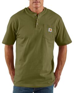 Carhartt Short Sleeve Green Henley Work Shirt, , hi-res