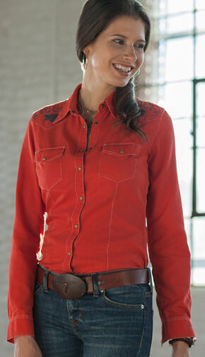 Ryan Michael Women's Applique Silk Western Shirt, Red, hi-res